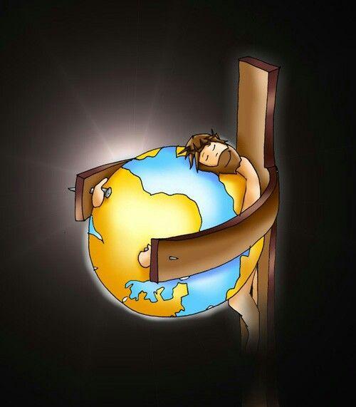 Jesus on cross hugging the whole wide world. Prophetic art.