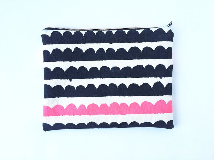 Hand painted black scallops with pink accent row, large clutch, by Carrie Joan Studio