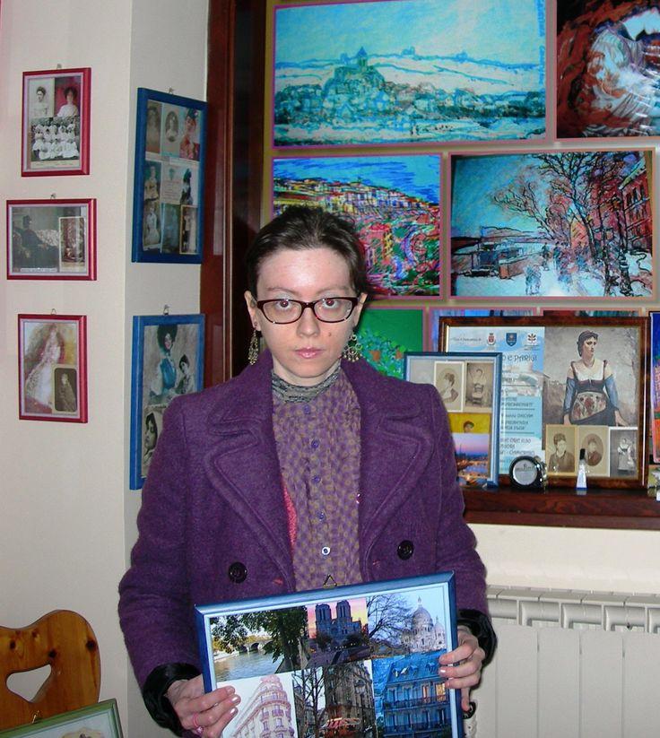 Giacca viola in lana cotta Smoogh, blusa Oviesse, orecchini ambra e dorati realizzati a mano...