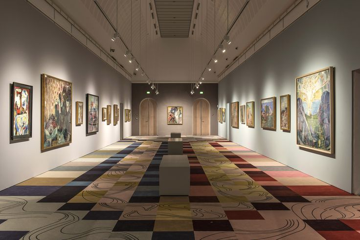 'Jorn + Munch' exhibition at Museum Jorn, Denmark. Carpet design by contemporary artist Malene Landgreen.