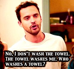 The towel washes me.  #newgirl  #nick