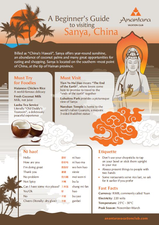A beginner's Guide to Sanya INFOGRAPHIC Simply check out our infographic of China's Hawaii, book your stay at Anantara Vacation Club Sanya and start packing your bags!