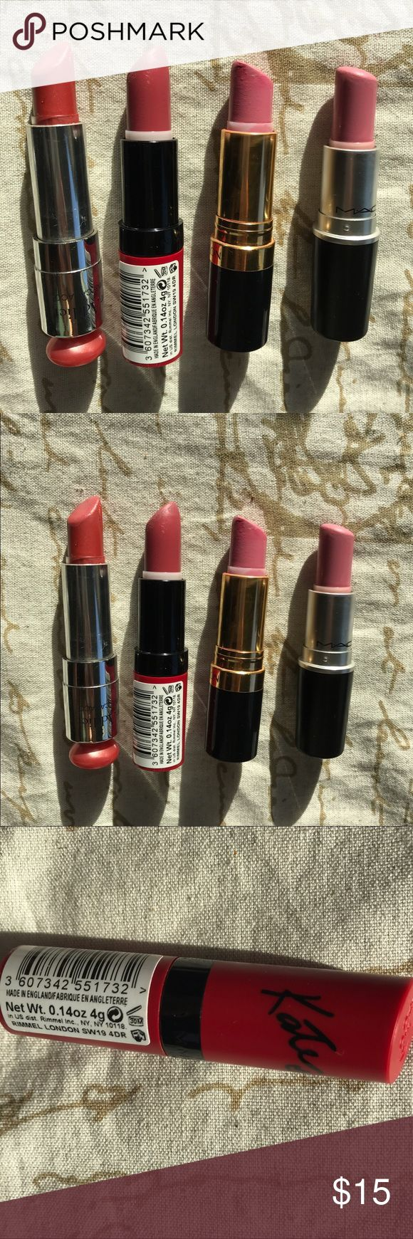Makeup bundle coral & pink lippies MAC Dior Kate The lipsticks shown are twisted to the fullest so you can see how much exactly are left in the products. You will get (from left to right) Auth Dior addict sanguine caraco 659, Kate in Rossetto 104, Revlon 668 primrose and MAC A64 Snob MAC Cosmetics Makeup Lipstick