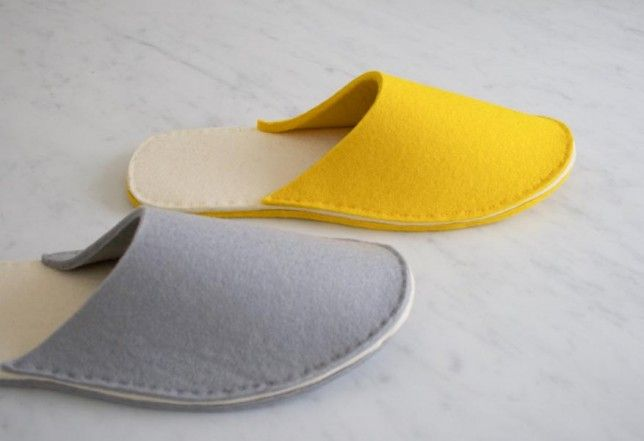 Stacked Felt Slippers | The Purl Bee... Free pattern and great tutorial!..I'm making a bunch of these for keeping at the back door!