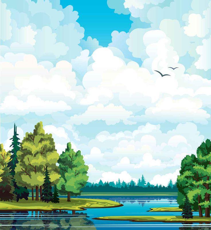 Cartoon Landscapes Vector Background