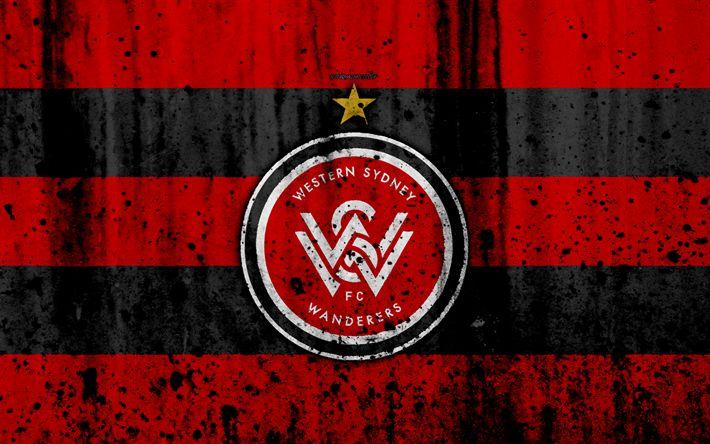 Download wallpapers 4k, FC Western Sydney Wanderers, grunge, A-League, soccer, football club, Australia, WS Wanderers, logo, stone texture, Western Sydney Wanderers FC