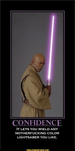 In the books only blademasters got purple blades. They were the only ones to master all 7 forms of lightsaber combat.  Samuel L. Jackson didn't know that though, he just wanted a purple lightsaber so he could find himself easier in that big lightsaber battle.  I lost some respect for Jackson because of that, but I love that Star Wars nerds have  decided that he was a blademaster and not just a vain actor.