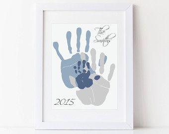 Personalized Family Portrait Gift for New Dad by PitterPatterPrint