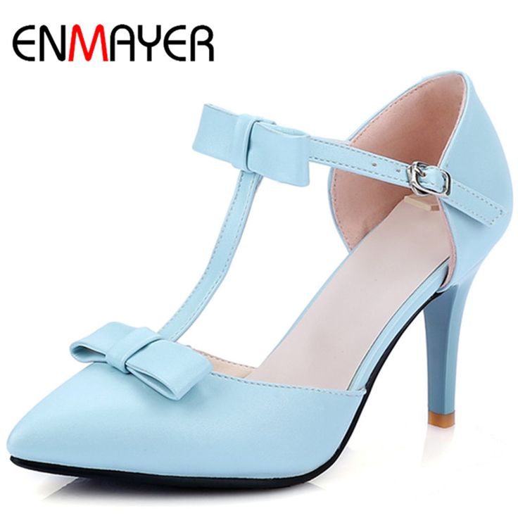 Find More Women's Sandals Information about ENMAYER New Fashion 3 Colors Blue Bowtie PU Leather Shoes Match Dress Party Sandals High Heel Shoes Woman Size 34 42,High Quality shoes shoe carnival,China shoes with red bottoms Suppliers, Cheap shoe clasp from NPI on Aliexpress.com