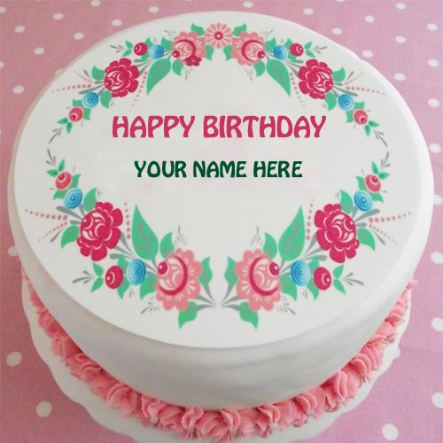 Write Name on Happy Birthday Floral Cake Topper.Create ...