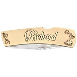 "DKC-1000-B RICHARD Personalized Name Knife Custom Hand Engraved Minted In Antique Brass 4.5 oz 6.75"" Long Open 2 7/8"" Blade 4"" Closed NAMANO MINT SERIES"