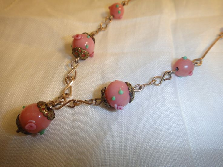 Vintage 1920s pink glass beads with base metal and hook clasp by VintagePrettyThingsx on Etsy