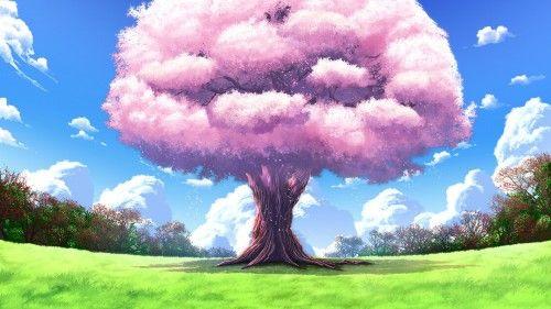 Широкоформатные обои арт, дерево, upscale, аниме, пейзажи, природа для рабочего стола 76557