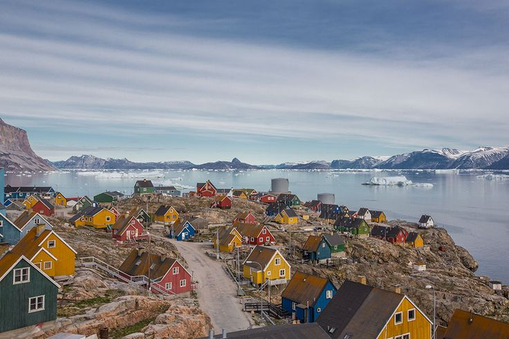 Greenland | Lawrence Hislop Photography. Colored homes and fjord in Greenland.