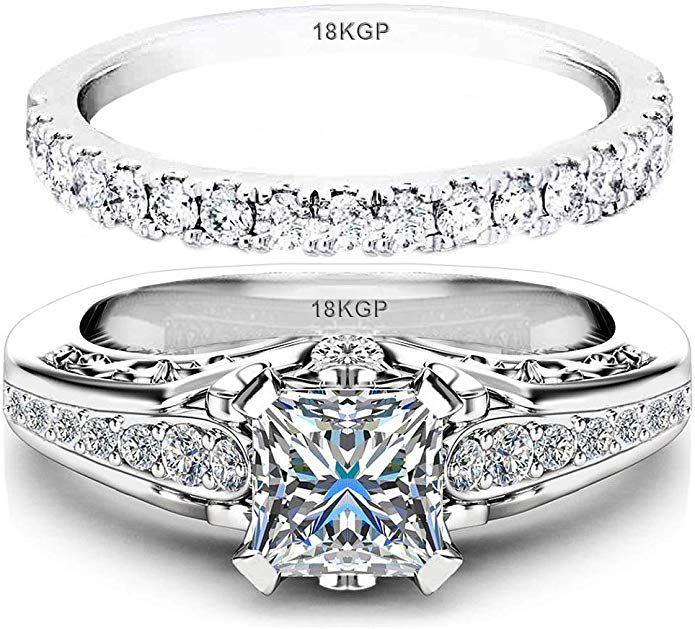 Link Goes To Amazon Wedding Ring Set Engagement White Gold Plated 18k Sterling Silver 925 Cubic Z In 2020 Bridesmaid Jewelry Sets Bridesmaid Jewelry Wedding Ring Sets