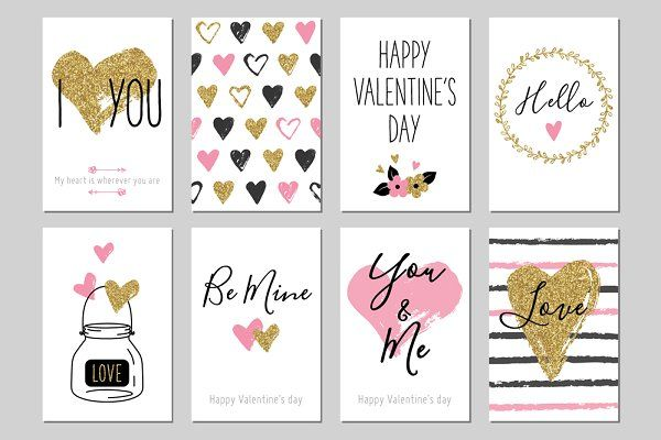 Valentine Day Gold Greeting Cards Valentine S Day Greeting Cards Greeting Card Template Greeting Card Set