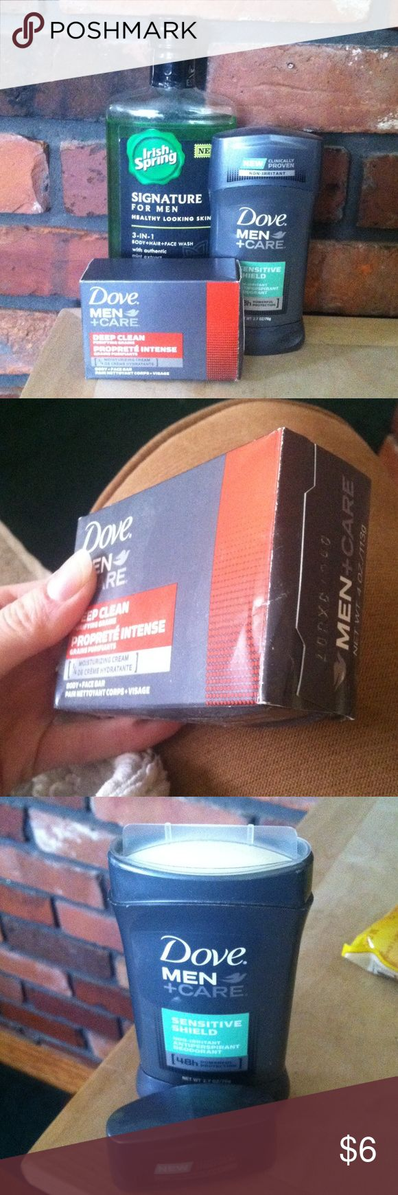Men's care bundle Dove men +care sensitive deodorant/antiperspirant, brand new. Dove men +care body & face bar, brand new but the box is a bit crinkled. Irish springs body+hair+face wash, my husband tried it but didn't like it so there is a bit missing. Other