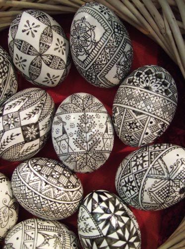 black and white eggs