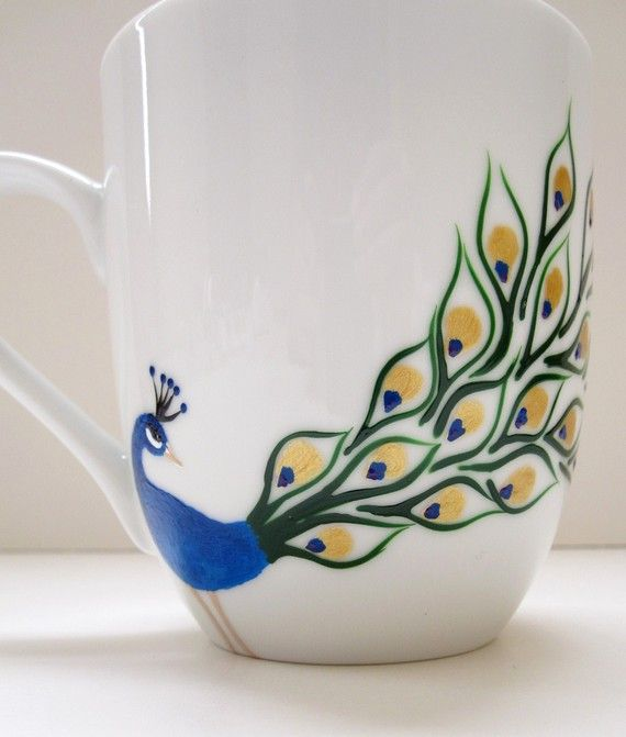 Coffee Mug Peacock by SwirlyGarden on Etsy, $26.00