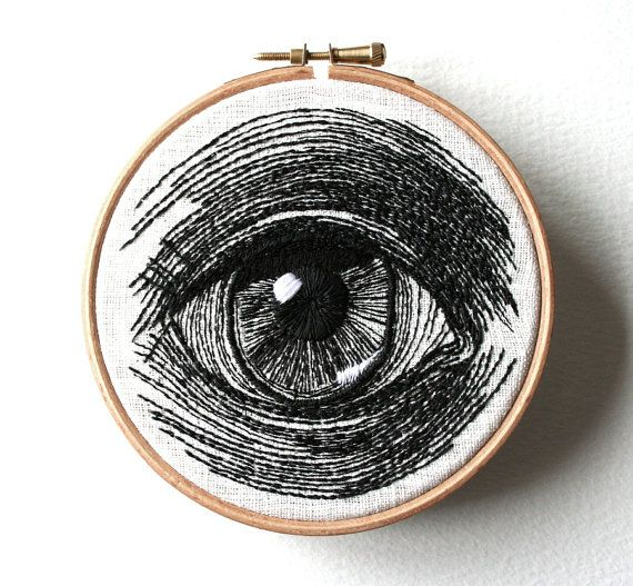 Human Eye Original Stitched Illustrated Wall Plaque by SamPGibson