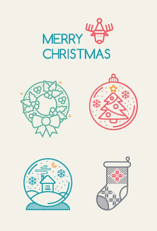 This is a small pack of free vector Christmas icons, designed in an outline, stroke kind of style. The format of the icons is EPS and PDF.