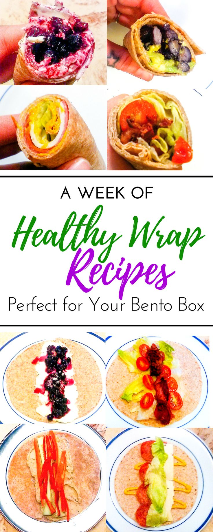 6 creative healthy and easy lunchbox wrap recipes for kids and for adults! Italian pinwheel, vegetarian wraps, and cold tortilla wraps perfect for breakfast, lunch, or dinner. These no sandwich bento box recipes are perfect lunch ideas for work, for school, or for home. With all these ideas for toddlers, for adults, and even for teenagers you are sure to please everyone in the family on a budget.  #healthysnacks #healthyrecipes #schoollunchideas #bentoboxideas