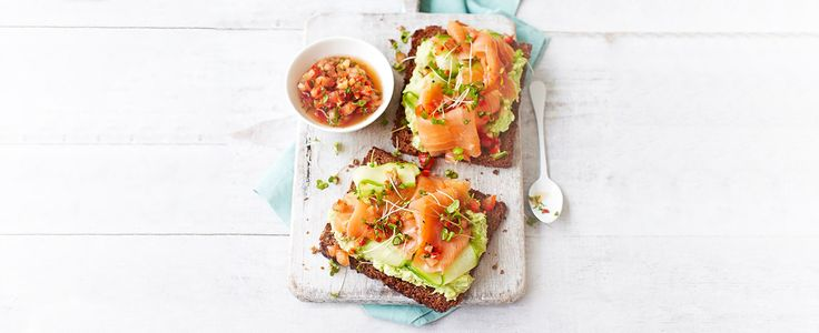Avocado on toast with smoked salmon and a tomato dressing – a recipe that's bound to get you out of bed in the morning. Creamy avocado and delicious smoked salmon feel like an indulgence, but this dish comes in at under 300 calories meaning you can have a little bit of luxury any day of the week.