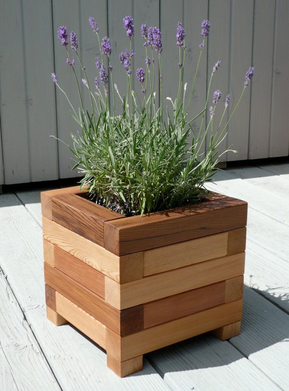 Square red cedar planter box by BENTwoodwork on Etsy.