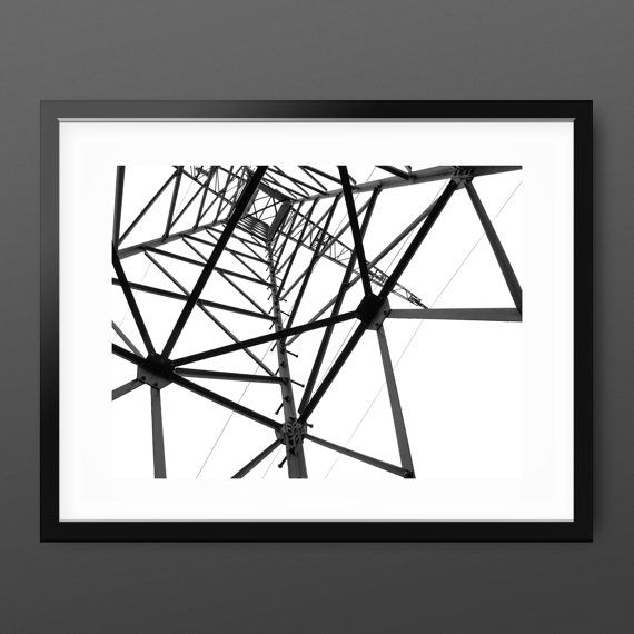 Abstract Black and White photography  'Electrical Tower Inside', Pylon industrial minimal urban photo art, contemporary minimalist wall art