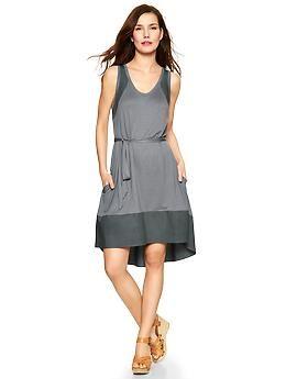 Mix-fabric tank dress