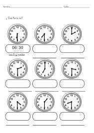 Resultado de imagen para que hora es para colorear