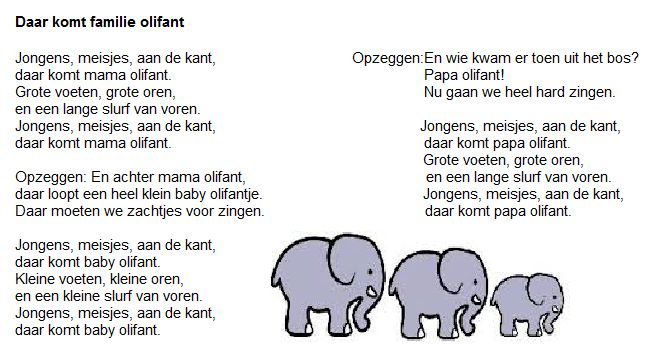 liedje over de familie Olifant.