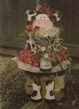 "27"" MISS MALLIE ANN MOO - WOOD Cow Head, Arms & Legs with BEAN BAG Body Pattern"