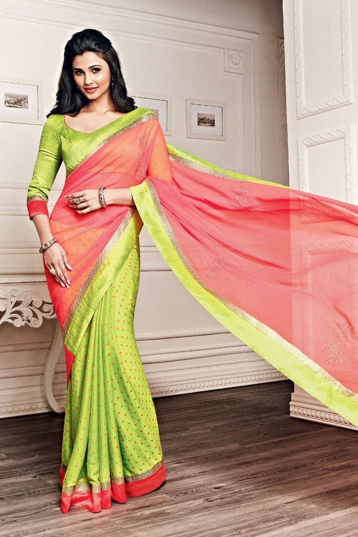 Daisy Shah - Pink and Green Chiffon and Faux Georgette Saree with Printed and Lace Work - Z1982P255-6 #designer #bollywood #daisyshah #sarees @ http://zohraa.com/sarees/sari/celebrity.html #celebrity #zohraa #onlineshop #womensfashion #womenswear #bollywood #look #diva #party #shopping #online #beautiful #beauty #glam #shoppingonline #styles #stylish #model #fashionista #women #lifestyle #girls #fashion