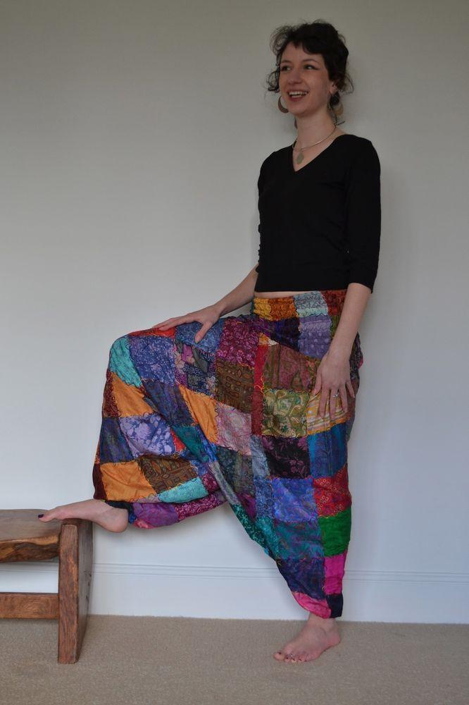HAREM TROUSERS Silk PATCHWORK HIPPY BOHO ALADDIN ALIBABA GENIE yoga Baggy Pants #EmmasEmporium #Harem