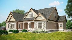 <ul><li>This attractive Craftsman style home plan combines shakes, stone and siding to enhance the exterior.</li><li>An open floor plan unites the family room, kitchen and eating area with no space wasted on a rarely used formal dining room or living room.</li><li>The vaulted screened porch can be seen from all the main rooms and is easily accessed.</li><li>The master suite is tucked in the rear with a huge bath to pamper the owners.</li><li>Two family bedrooms lie in the front of the home…