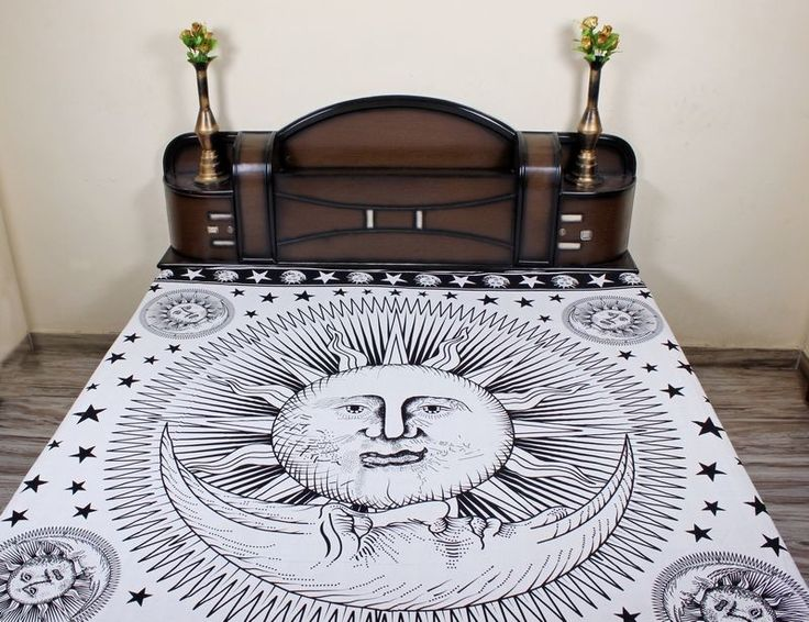 Indian black and white Sun Moon mandala tapestry,wall decor tapestry online sale #Handmade