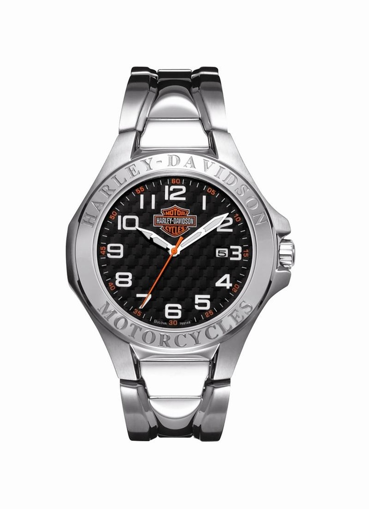Mens harley davidson thin stainless steel strap watch by bulova 76b148 men 39 s h d watches for Watches bulova