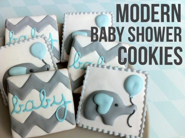 modern baby boy shower cookies