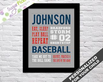 Baseball Print, Baseball art, Team Gift, Personalized Baseball Subway Art,  Baseball Stats Art, Baseball Wall Art, Baseball printables