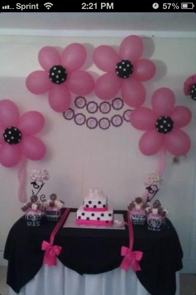 Baby shower idea but done in purple and white polka dots