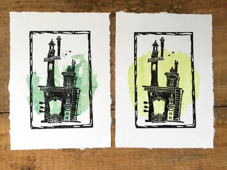 House and tree~ Linocut,Linoprint,Print,House print,Stars,Letterpress,Card,Printmaking,Green,Nature by TinyLandme on Etsy