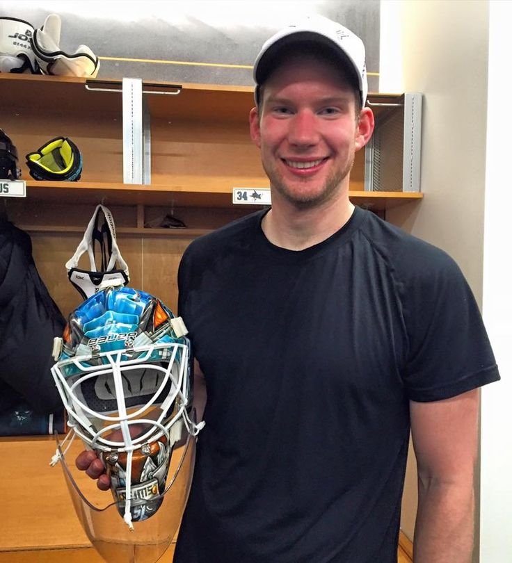 Reimer and his new goalie mask.
