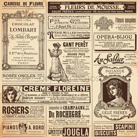 Baixar - Vintage francês anúncios sobre temas das senhoras — Ilustração de Stock #48982079