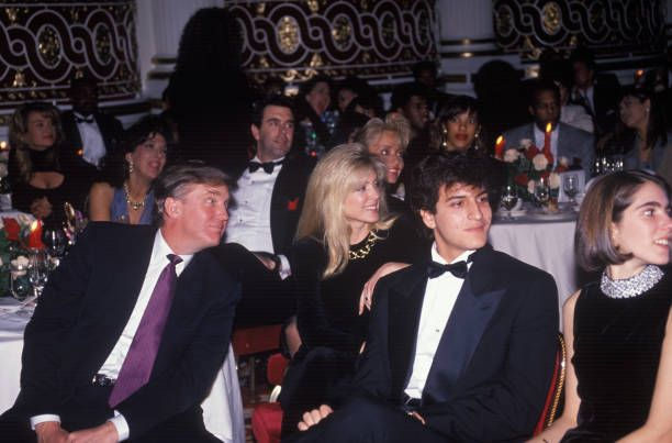 American businessman Donald Trump with his wife Marla Maples at an Arista preGrammy Awards party at the Plaza Hotel on February 19 1991 in New York...