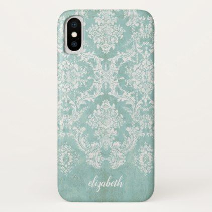 Ice Blue Vintage Damask Pattern with Grungy Finish iPhone X Case - shabby unique diy customize