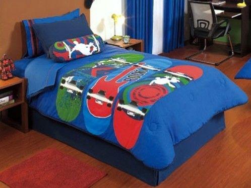 5 pc blue red skateboard teen boys full size reversible comforter edred n ebay t needs - Skateboard themed bedroom ...