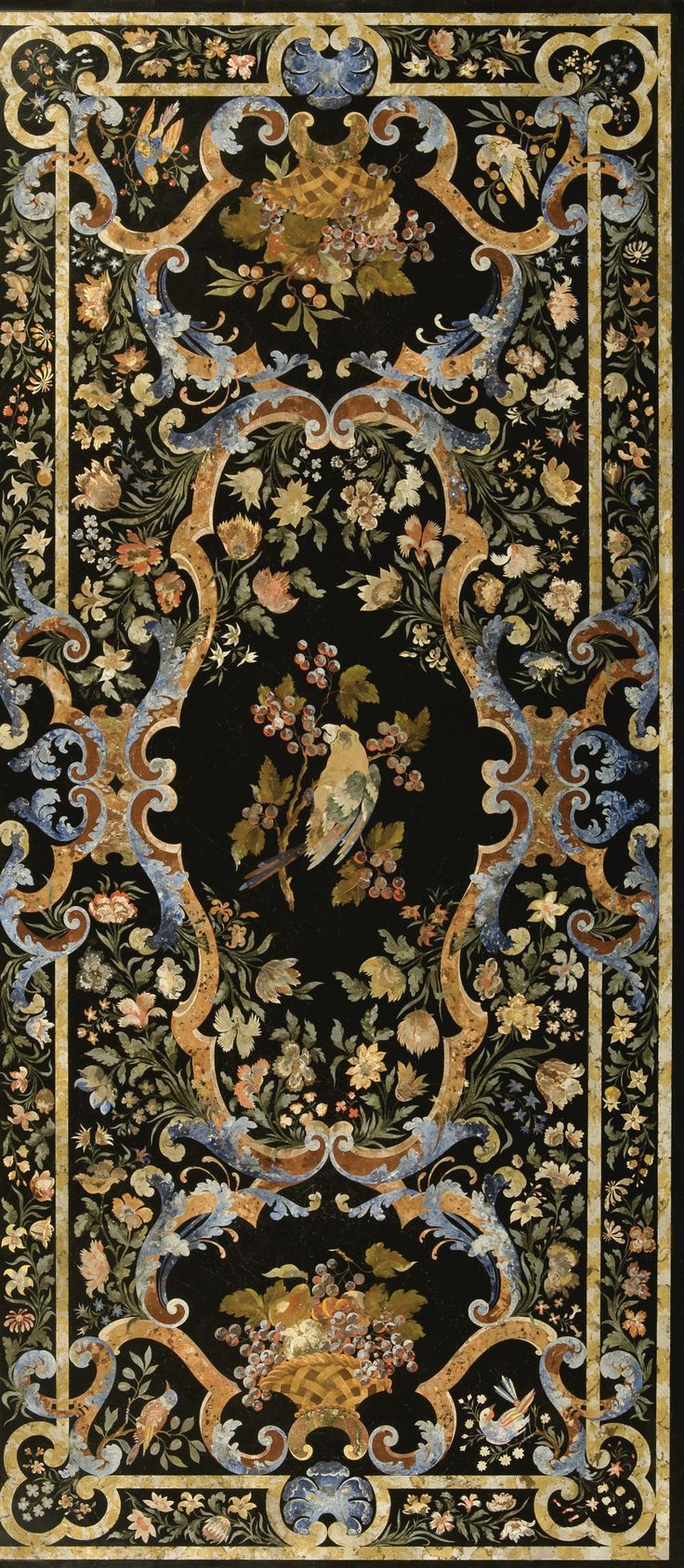 An Italian polychrome decorated scagliola table top, on a faux walnut and parcel-gilt base probably second half 19th century