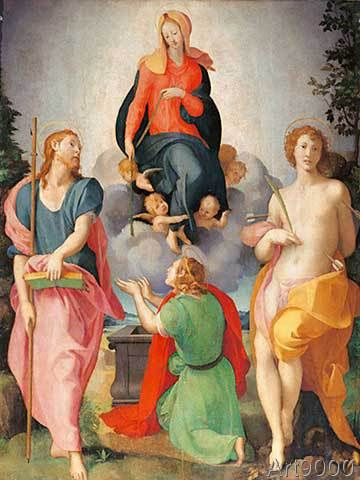 Jacopo Pontormo - Madonna offering her girdle, with Saint James, Saint Sebastian and a kneeling saint