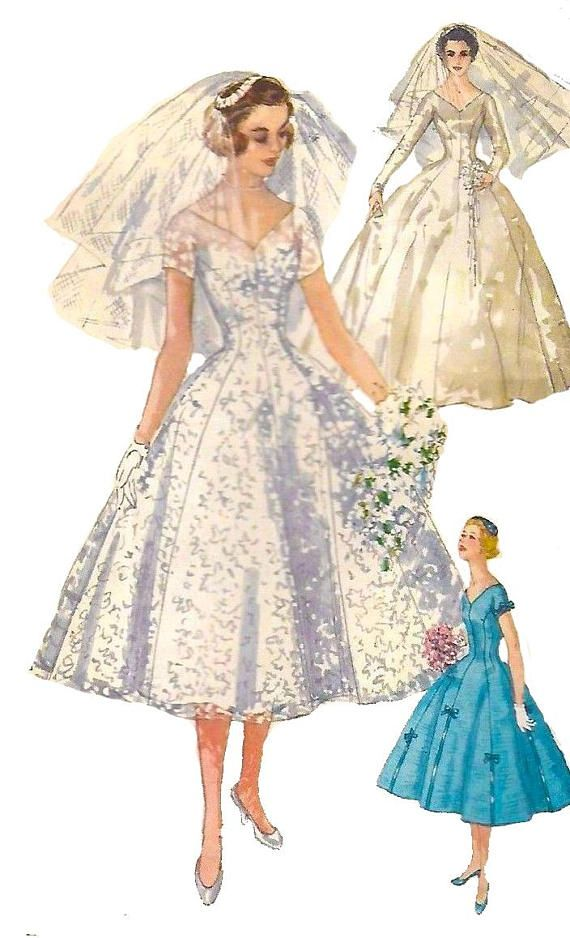 Vintage 1950 S Sewing Pattern Elegant Grace Kelly Wedding Etsy Wedding Dress Patterns Wedding Gowns Vintage 1950s Wedding Dress